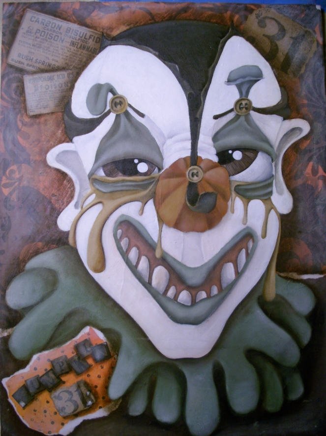 "Halloween Withdrawal Clown from ""Clown Asylum"" series of paintings"
