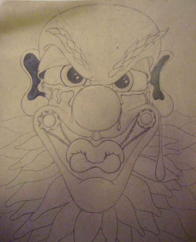 "This is my ""Closed"" clown. He cannot speak because his mouth has been shut with that contraption on it... you can't read his eyes to know what he is thinking simply because he has a wall up so high you don't know what is going on his head. Are his tears from frustration? Fear? Pain? Anger? Who knows... he'll never tell. He'll never open up to anyone and because of this he will never feel love.... because he refused to let anyone in or out... so he is what we call ""The Player"""